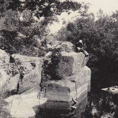 Eberhardt on Oconto River ledge
