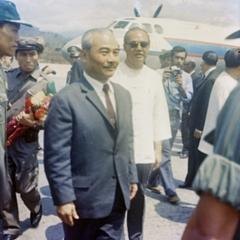 Prince Souphanouvong stands for a photograph at the Luang Prabang airport