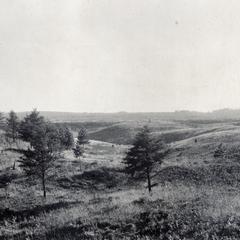 Morainal topography below level of plain
