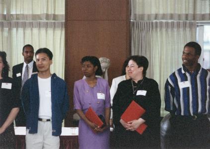 Students at 1995 graduation reception