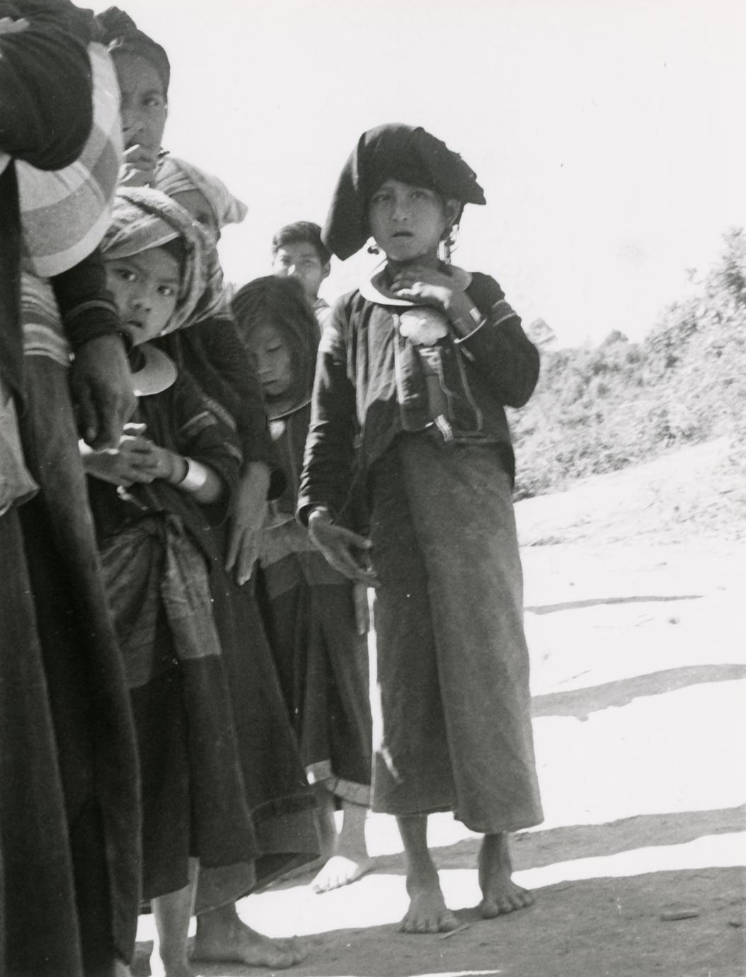 Young girls in a Black Lahu (Lahu Na) village pose for a photograph in Houa Khong Province