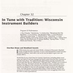 In tune with tradition : Wisconsin instrument builders