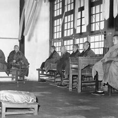 Monks at Pilu Si (Pilu Monastery)  毘盧寺 in seated recitation.