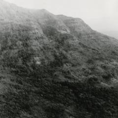 Aerial view of the eastern rim of the Boloven Plateau above Attapu town in Attapu Province