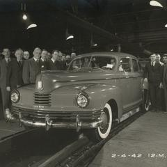 "The last ""civilian"" Nash comes off the assembly line before World War II manufacturing begins"
