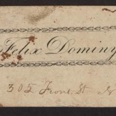 Sample name card, Felix Dominy