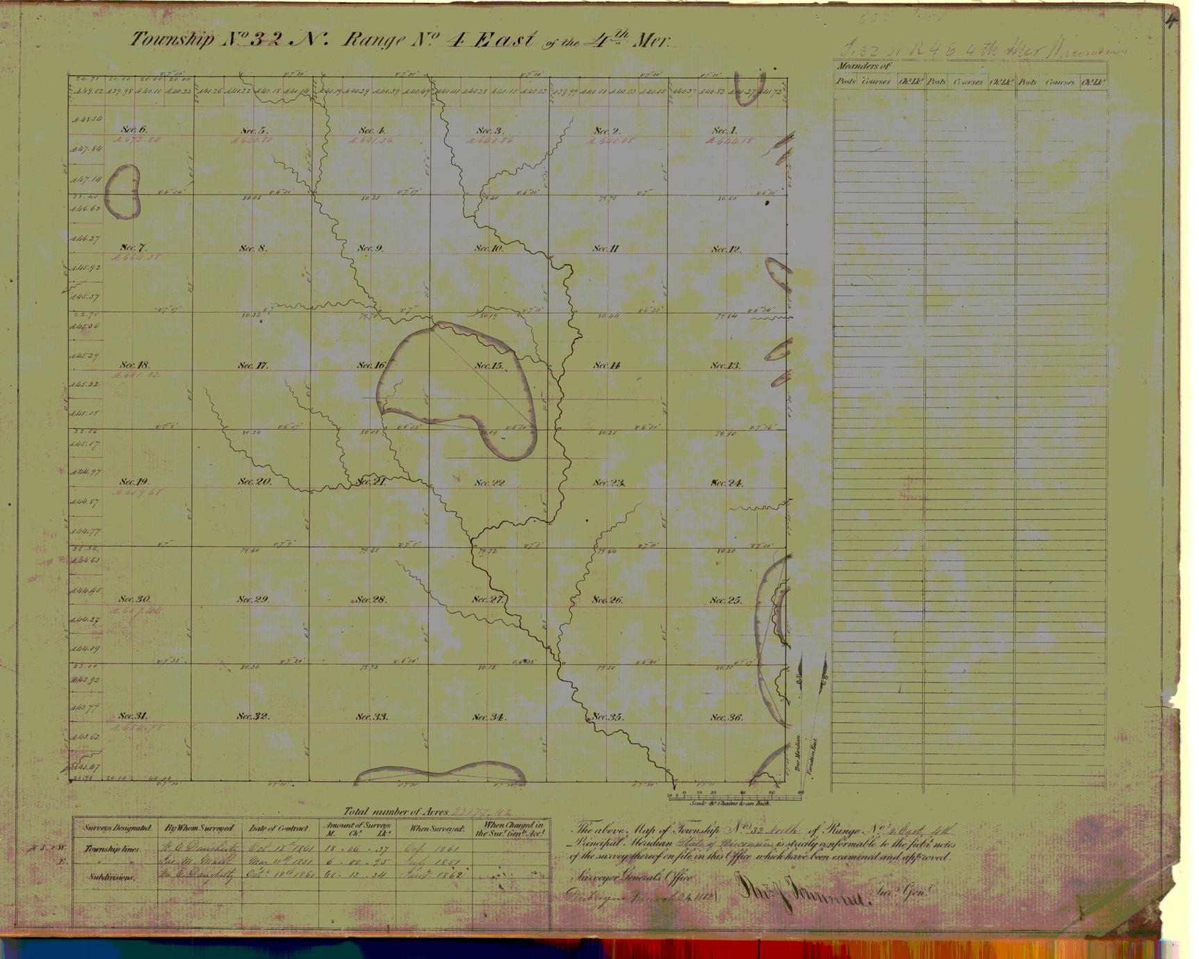 [Public Land Survey System map: Wisconsin Township 32 North, Range 04 East]