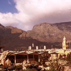 View of Cape Town with Train Station in Foreground, Tower of Synagogue, and Table Mountain
