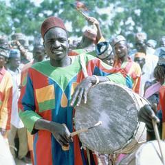 Kanuri Drummer, Part of Entourage of Traditional District Head at Big Sallah Celebration