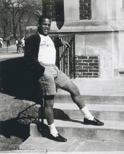 Relaxing on steps of Wittich Hall