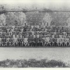 A company of Filipino soldiers with their Filipino and American officers, 1909