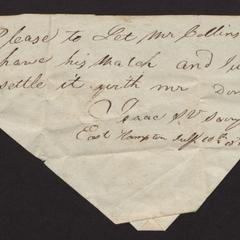 Note asking for Mr. Collins Miller's watch, 1818