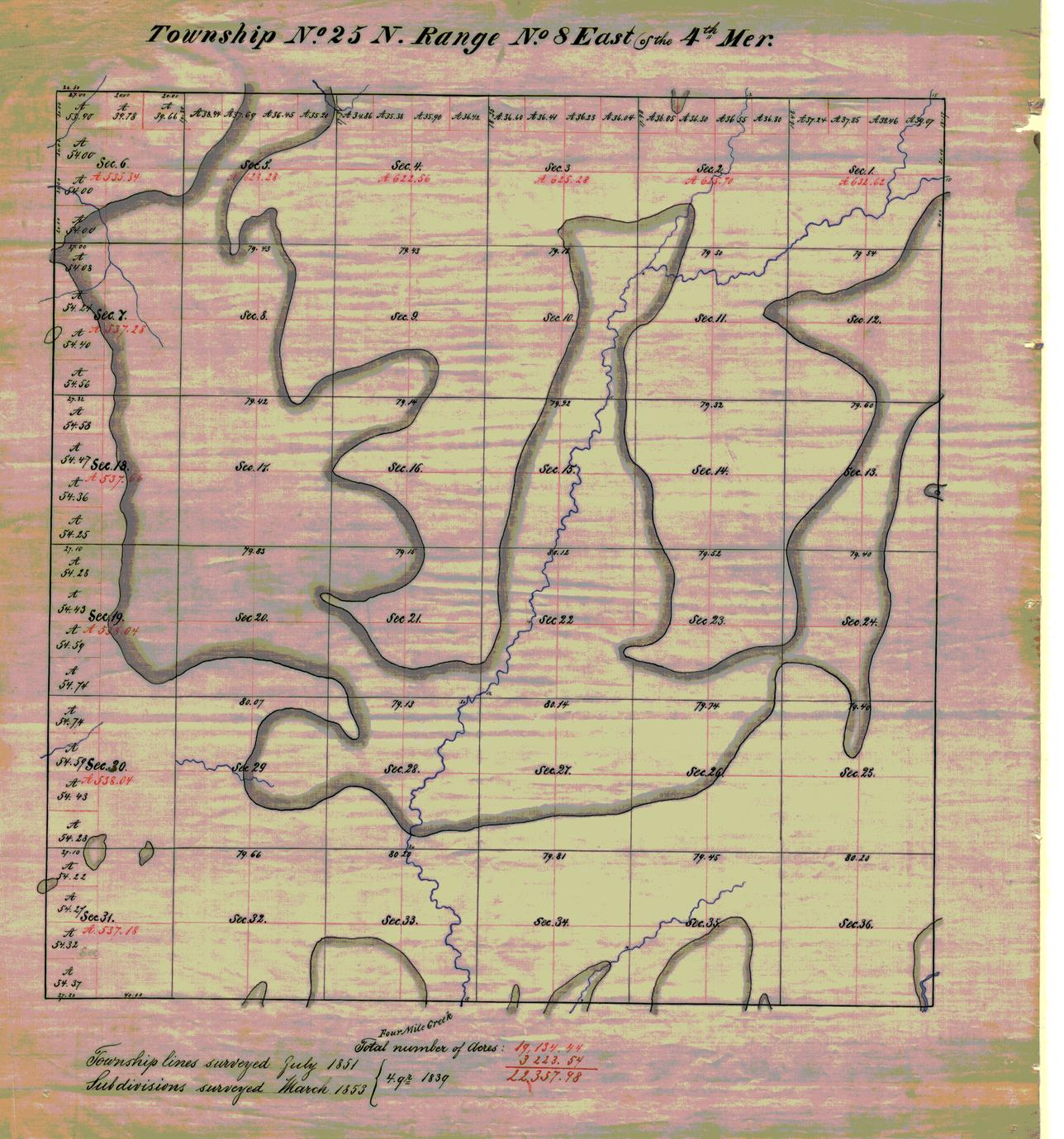 [Public Land Survey System map: Wisconsin Township 25 North, Range 08 East]