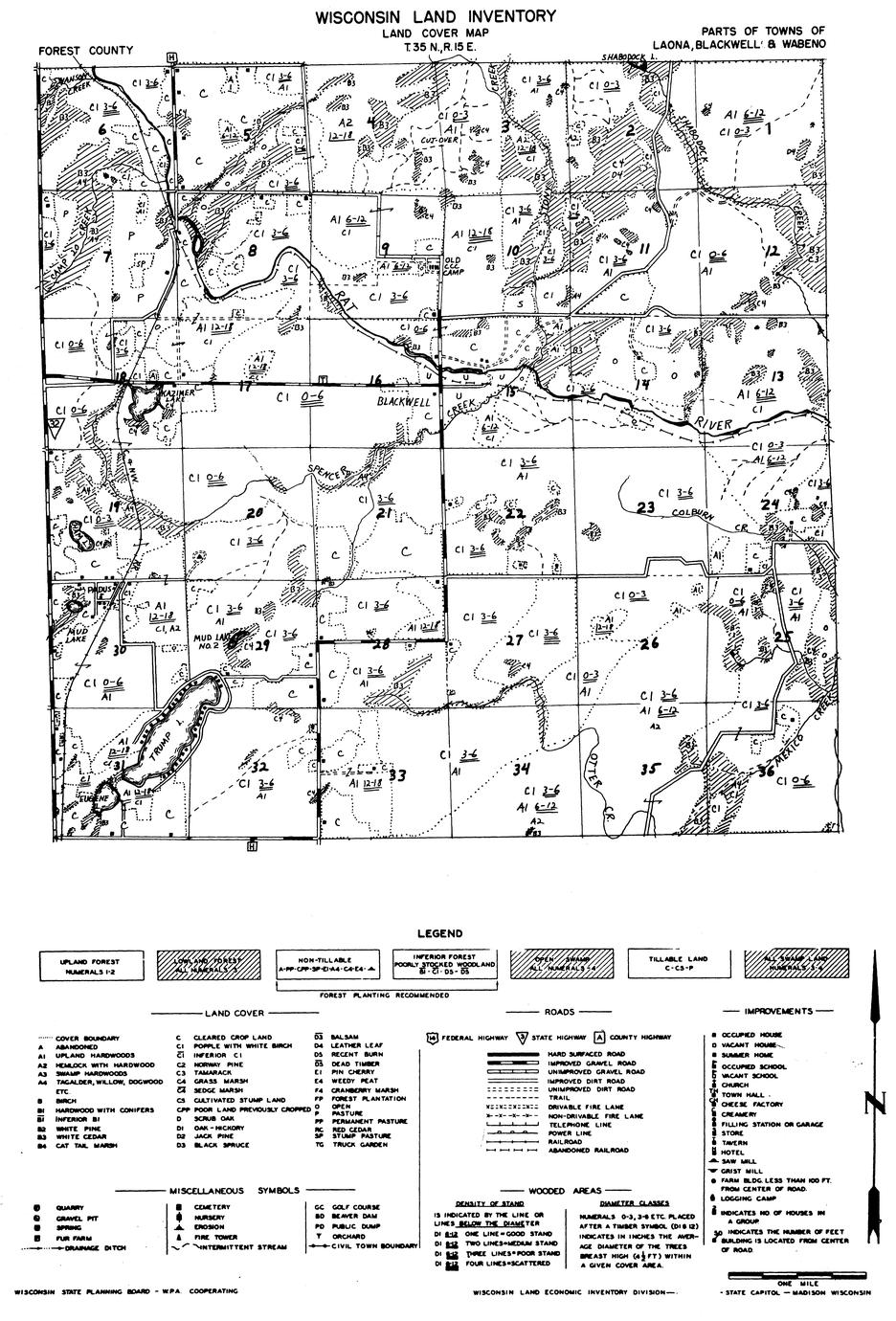 Parts of towns of Laona, Blackwell and Wabeno