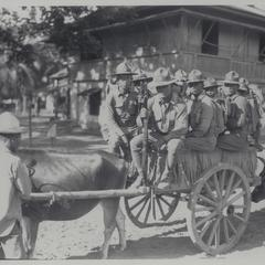 Part of a rifle company loaded on a native bull cart, 1931
