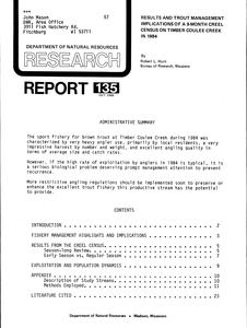 Results and trout management implications of a 9-month creel census on Timber Coulee Creek in 1984