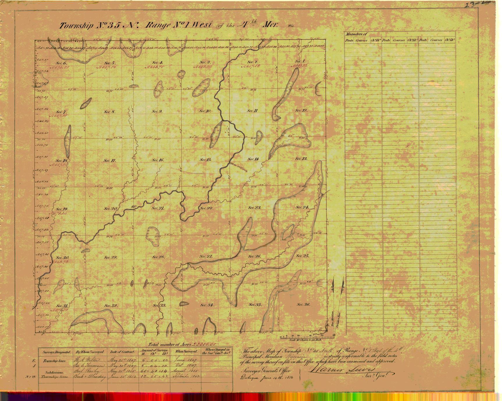 [Public Land Survey System map: Wisconsin Township 35 North, Range 01 West]