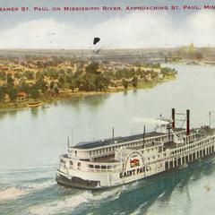 Steamer St. Paul on Mississippi River, approaching St. Paul, Minn.