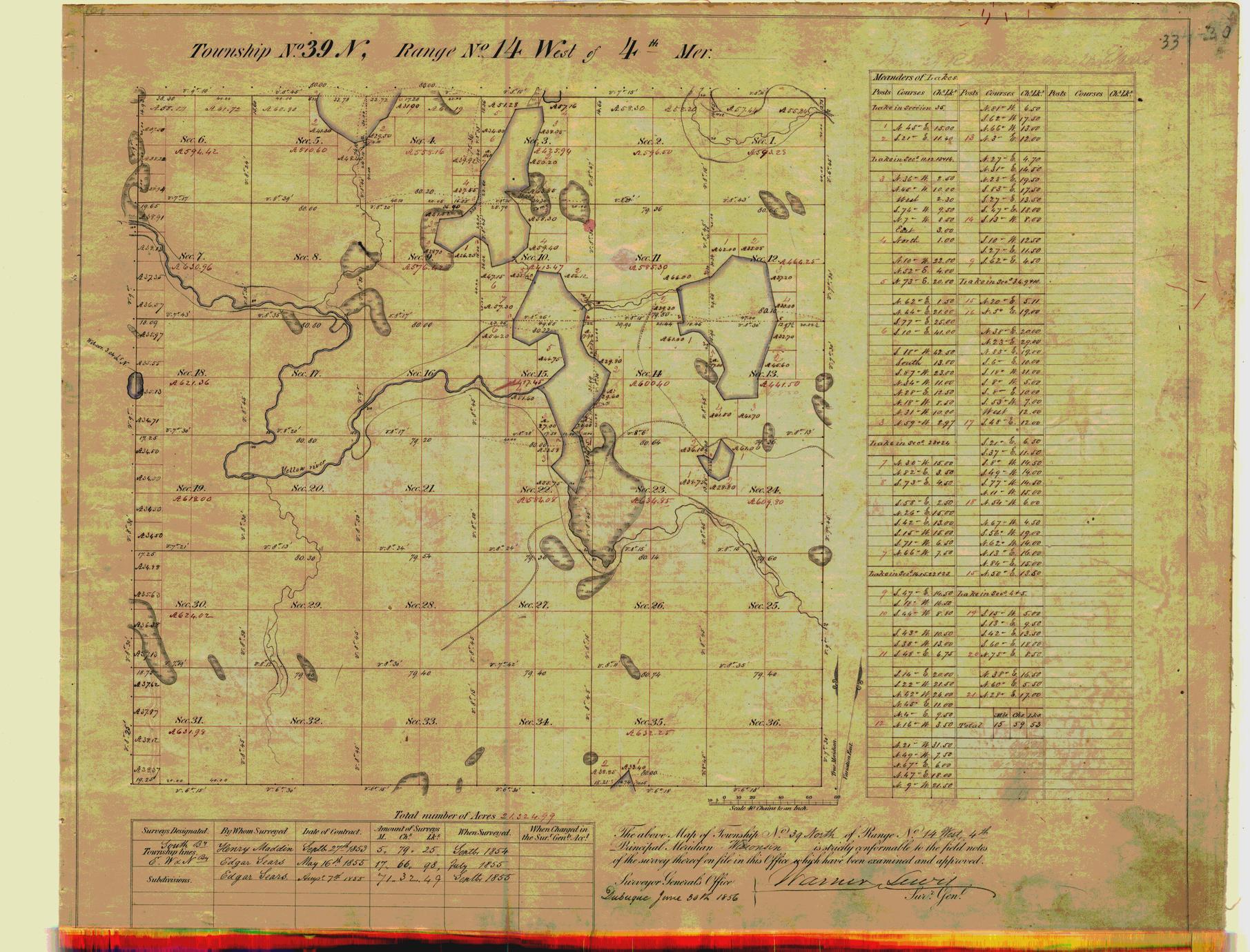 [Public Land Survey System map: Wisconsin Township 39 North, Range 14 West]