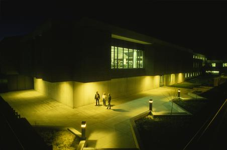 Library exterior at night