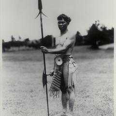 Native man holding a spear, Mountain Province, ca. 1920-1930
