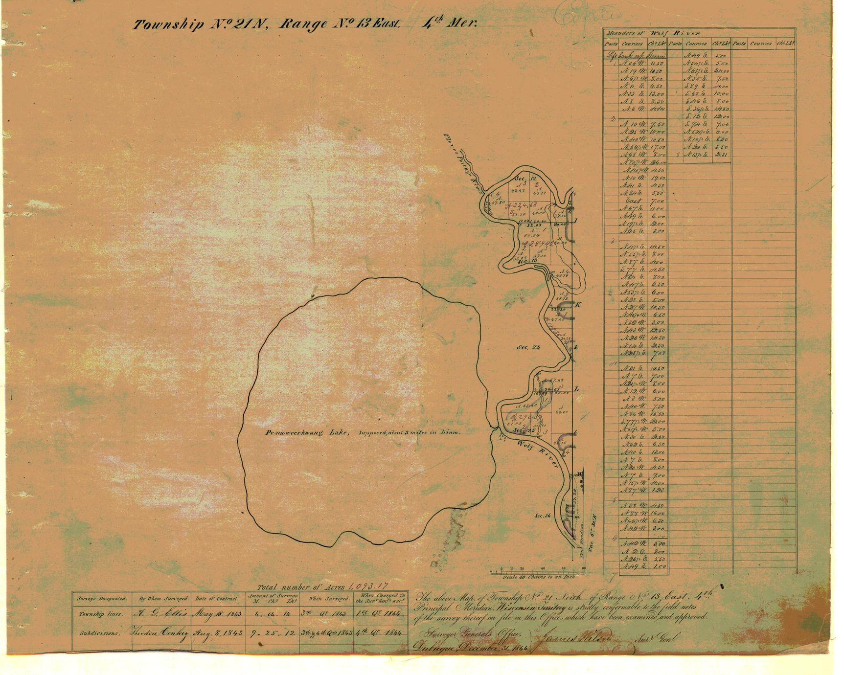 [Public Land Survey System map: Wisconsin Township 21 North, Range 13 East]
