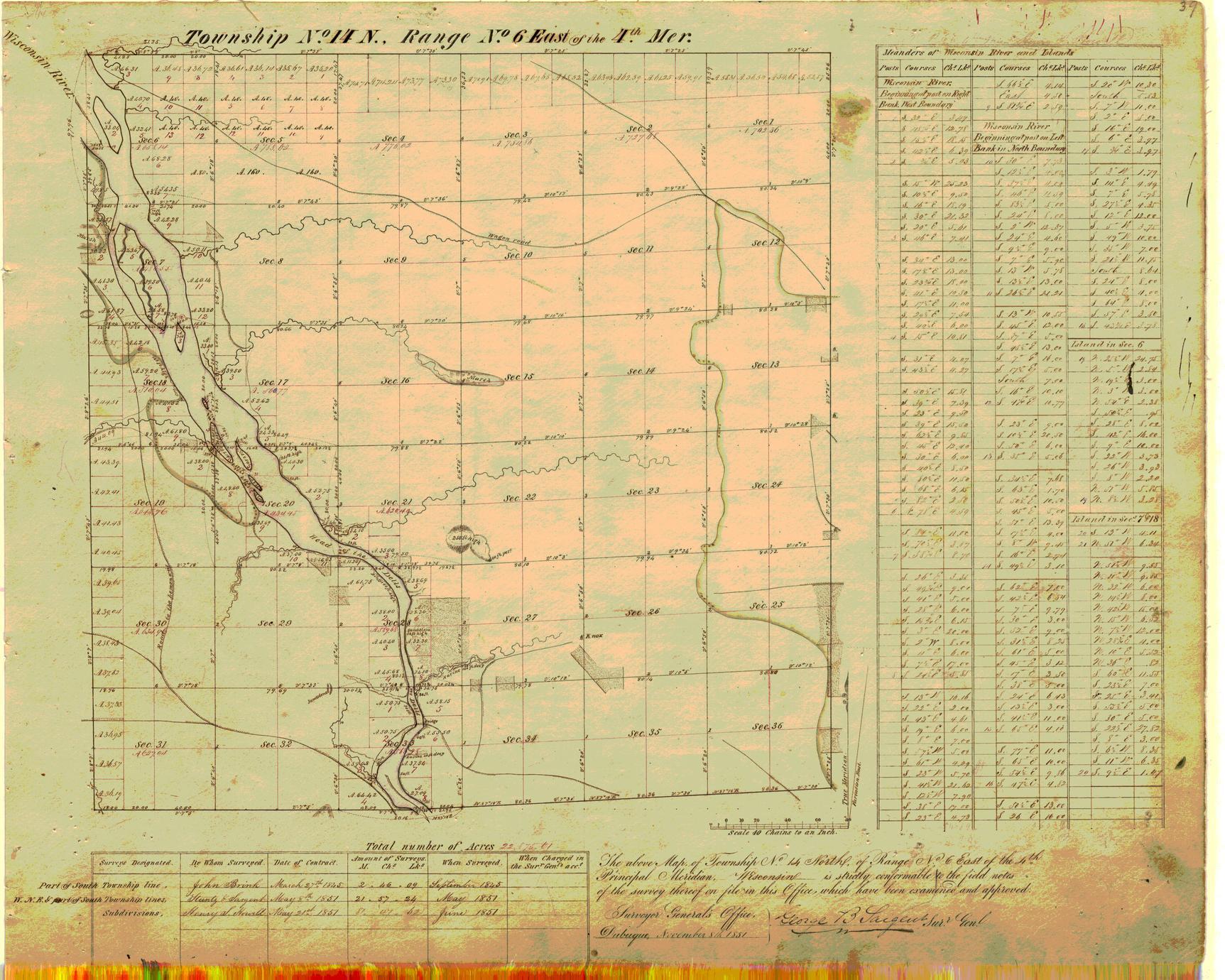 [Public Land Survey System map: Wisconsin Township 14 North, Range 06 East]