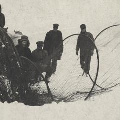 Ice fishing on Lake Pepin with hoop nets