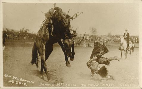 Bonnie McCarrol [sic] thrown from a horse postcard