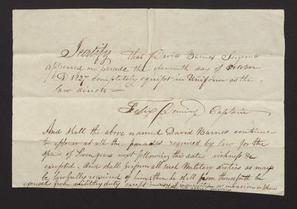 Affidavit, Oct. 1827, certifying that David Barnes, Sergeant, appeared on parade on Oct. 11, 1827