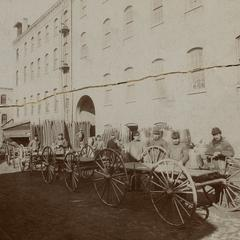 Bain Wagon Works employees outside factory