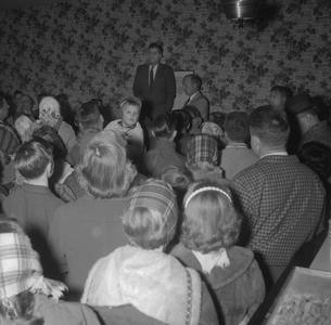 John F. Kennedy greeting crowd at Olson's Restaurant