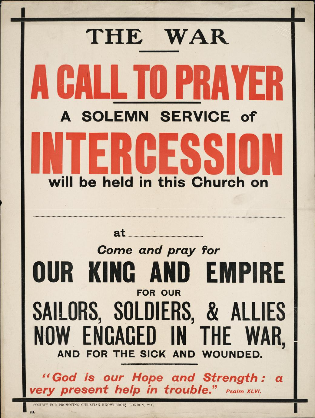 The war : A call to prayer
