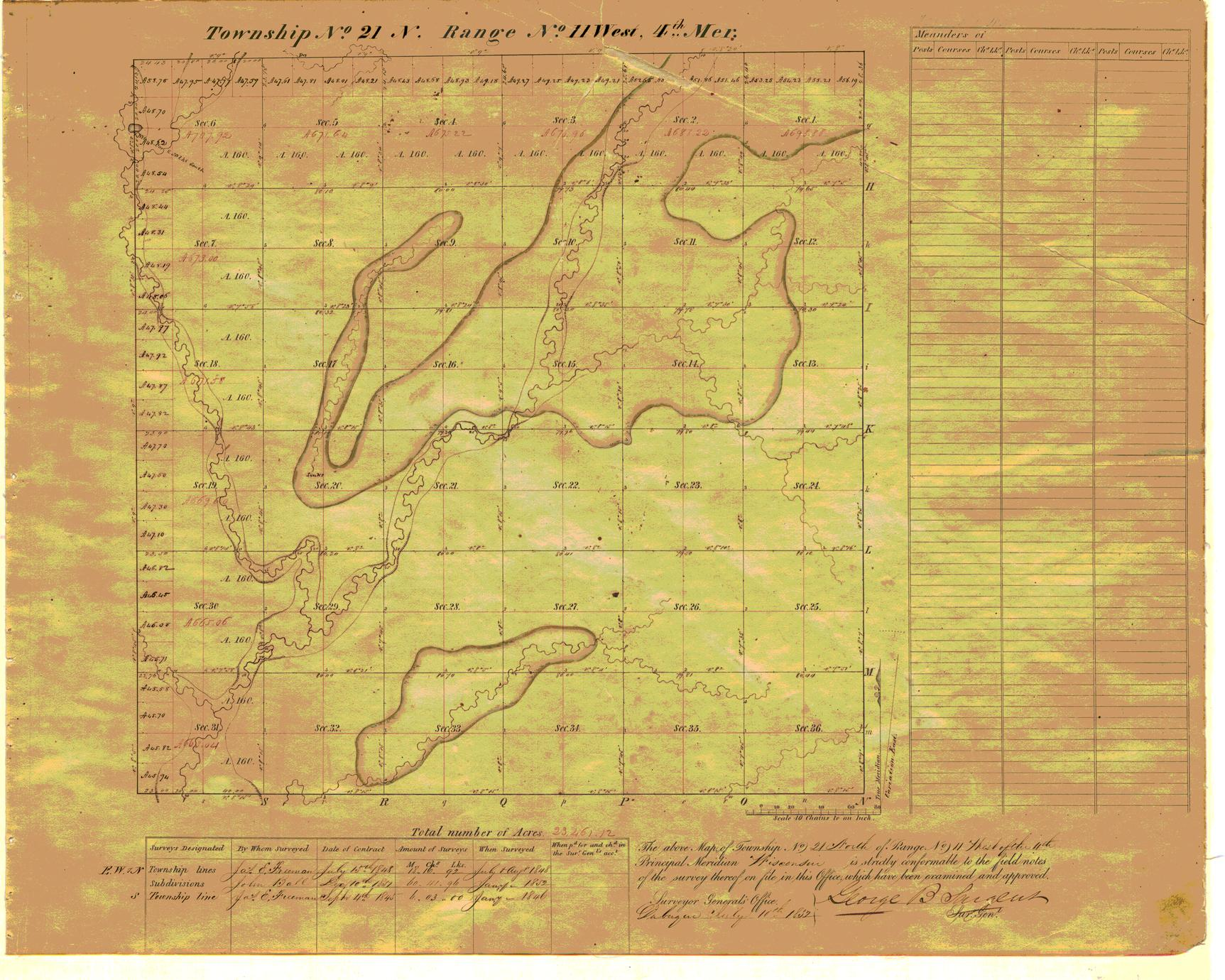 [Public Land Survey System map: Wisconsin Township 21 North, Range 11 West]