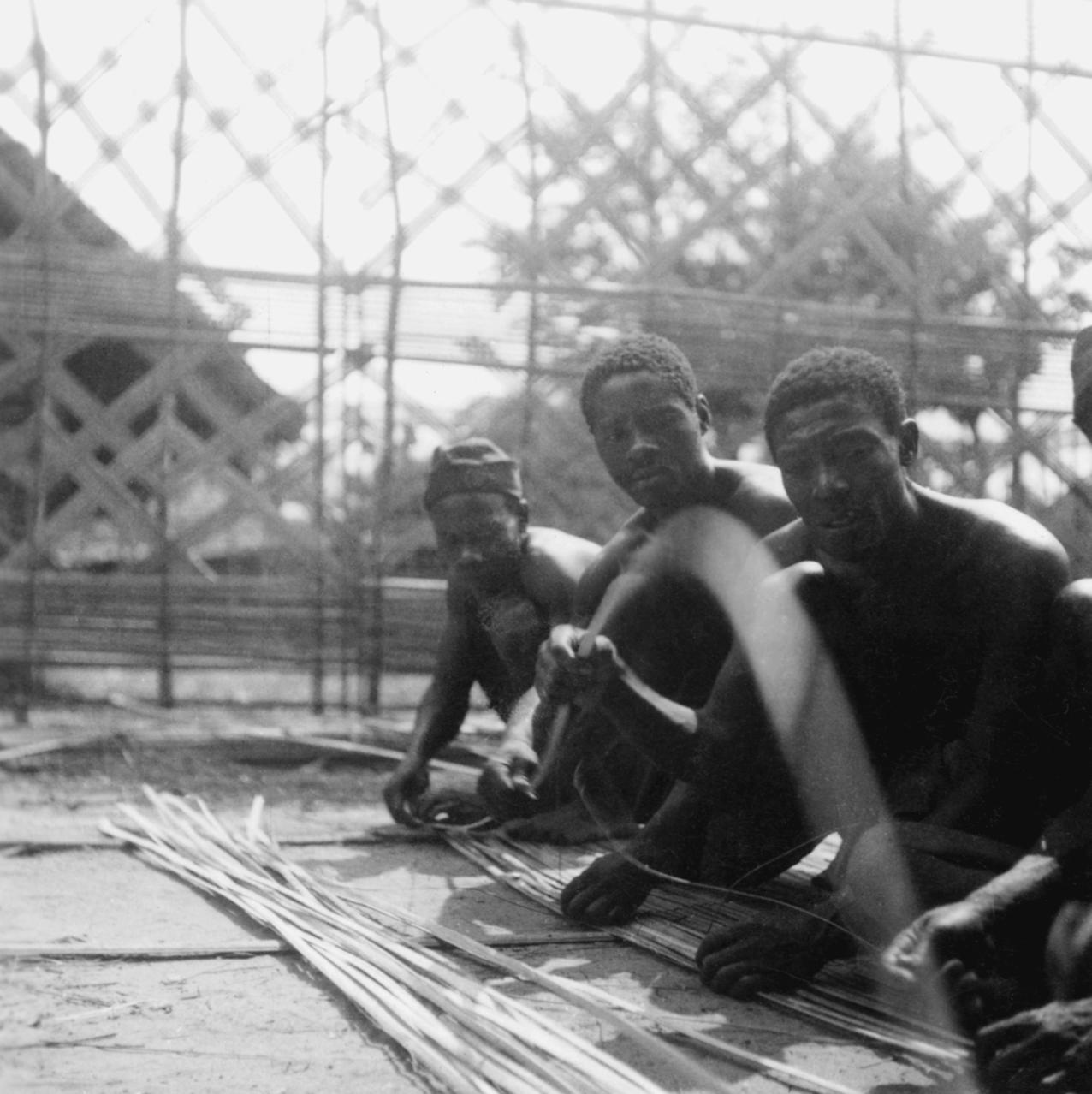 Laborers Constructing Portion of Palace Wall in Kuba-Bushong Capital of Nsheng