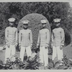 Four cadets in Mansion House gardens, Baguio