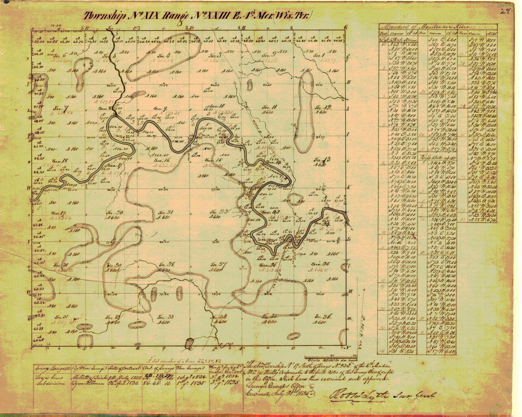 [Public Land Survey System map: Wisconsin Township 19 North, Range 23 East]
