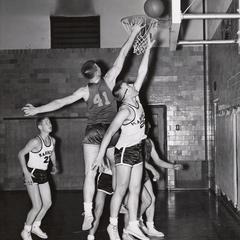 Basketball game against UW-Marinette, Manitowoc, 1956-1957
