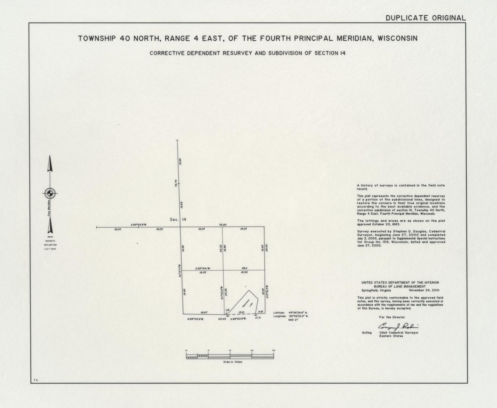 [Public Land Survey System map: Wisconsin Township 40 North, Range 04 East]