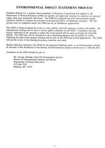 Draft environmental impact statement : Flambeau Mining, Inc., copper mine, Ladysmith, Wisconsin