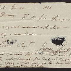 Receipted bill from James Rogers of New York, 1825