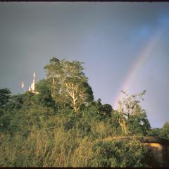 View of Phu Si and rainbow after storm