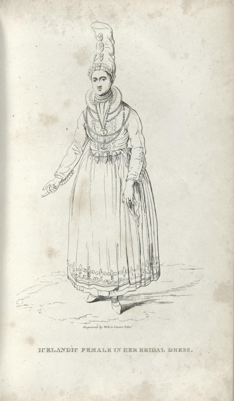 Icelandic female in her bridal dress.