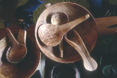Carved wooden spoons and bowls by Myron Lowe