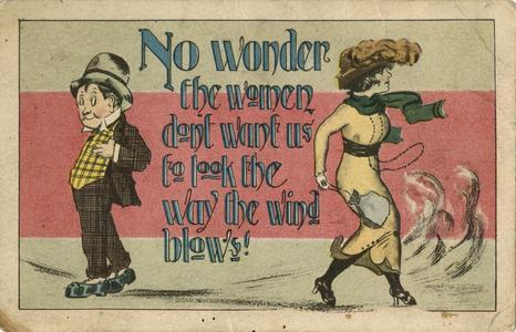 'No wonder the women don't want us' postcard