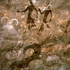 Petroglyph : Horned Animals and Human Figures