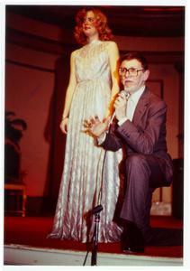 Model on stage with Charles Kleibacker