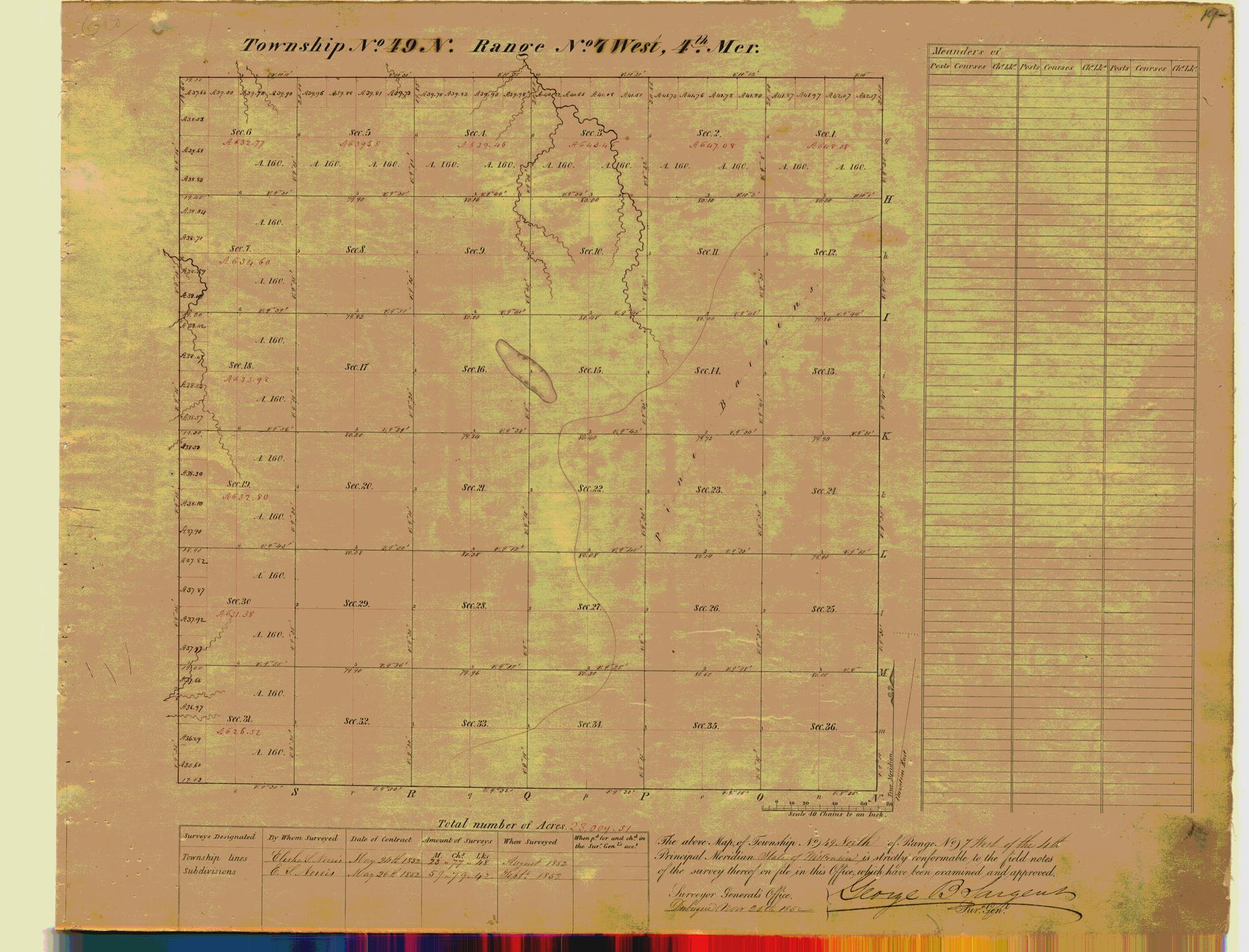 [Public Land Survey System map: Wisconsin Township 49 North, Range 07 West]