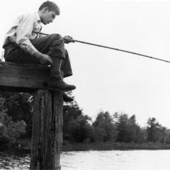 Carl fishing at Chapman Lake Bridge