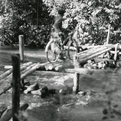 Foot bridge used to cross a river in Attapu Province